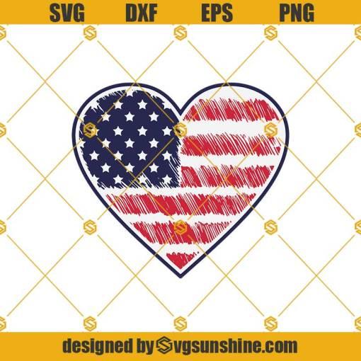 American Flag Heart 4th Of July Svg, 4th Of July Svg, Heart Flag Svg, Patriotic Svg, Fourth Svg