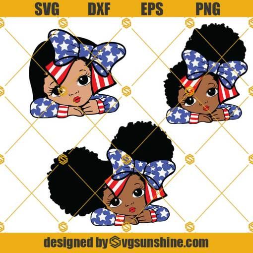 4th of July African American Girl SVG, Peekaboo Girl SVG, Black Girl SVG BUNDLE, 4th of July SVG