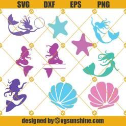Mermaid Bundle Svg, Ocean Mermaid Svg, Starfish Svg