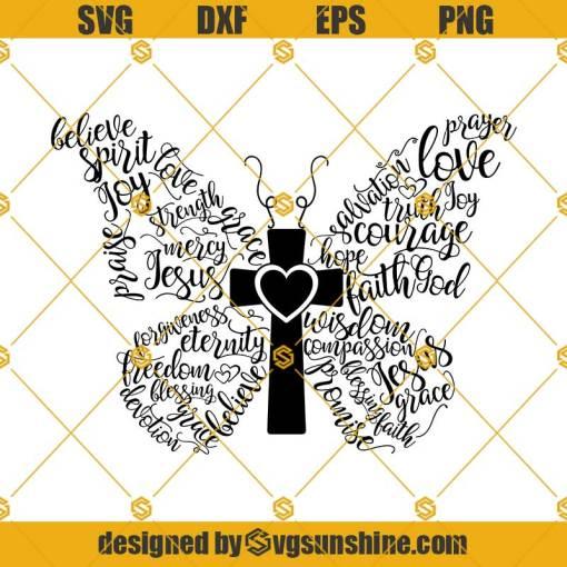 Christian Butterfly SVG, Religious SVG, Christian SVG, Butterfly SVG