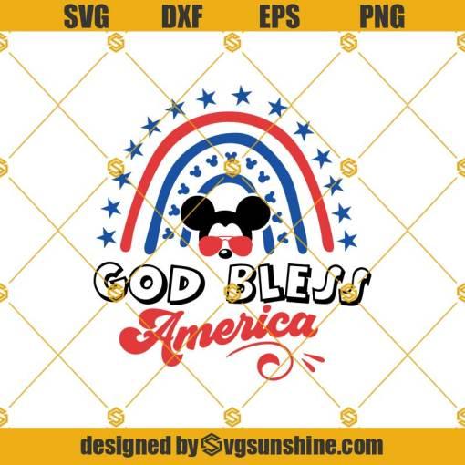 God Bless America Svg, Rainbow Svg, 4th Of July Svg, Patriotic Svg, 4th Of July Rainbow Svg
