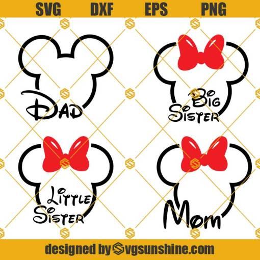 Mickey And Minnie Outline Head SVG, Disney Family Bundle Svg, Disney Svg,Family Svg