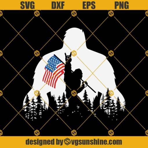 Rokin Bigfoot American Flag SVG, Camping, Bigfoot Svg, American Svg