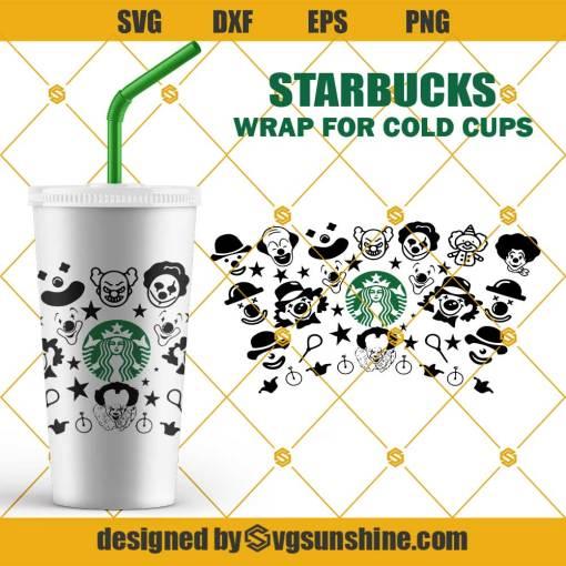 Full Wrap Starbucks Halloween Clown Cold Cup SVG