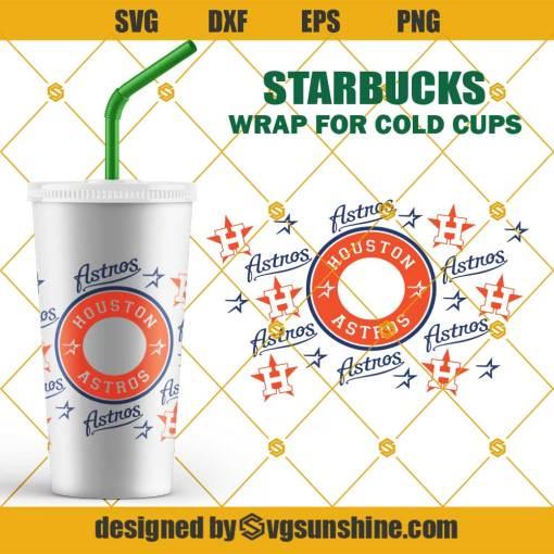 Houston Astros SVG For Starbucks Cup SVG, Full Wrap Starbucks Houston Baseball Cold Cup SVG, Baseball Team SVG