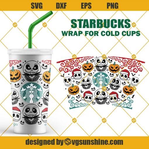 Full Wrap Jack Skellington Starbucks Cup SVG