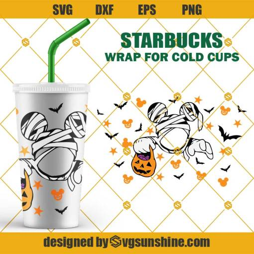 Halloween Mickey Mouse Starbucks Cup SVG, Disney Halloween Full Wrap for Starbucks Cup Logo SVG