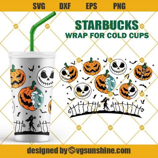 Pumpkin Jack Skellington Starbucks Cold Cup SVG, Pumpkin King SVG, Full Wrap for Starbucks Venti Cold Cup SVG