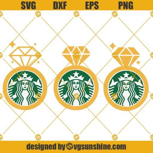 Diamond Ring Starbucks Cup SVG, Engagement Ring SVG