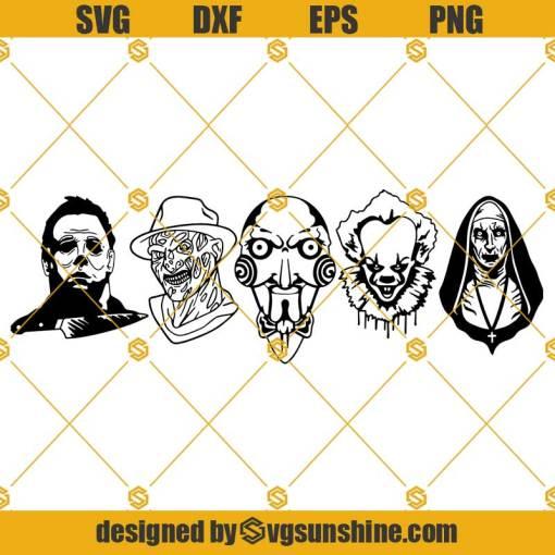Horror SVG Bundle, Freddy SVG, The Saw SVG, Michael SVG, Clown SVG, The Nun SVG
