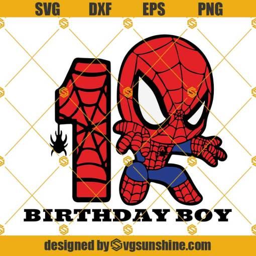 1st Birthday SVG, Birthday Boy SVG, Spiderman Birthday SVG, Happy Birthday Spiderman SVG