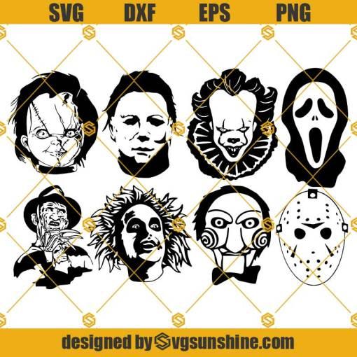 Horror Movie Characters SVG Bundle, Freddy Svg, Scream Svg, Pennywise Svg, Michael Myers Svg, Chucky Svg, Jason Svg, Jigsaw Svg, Beetlejuice Svg