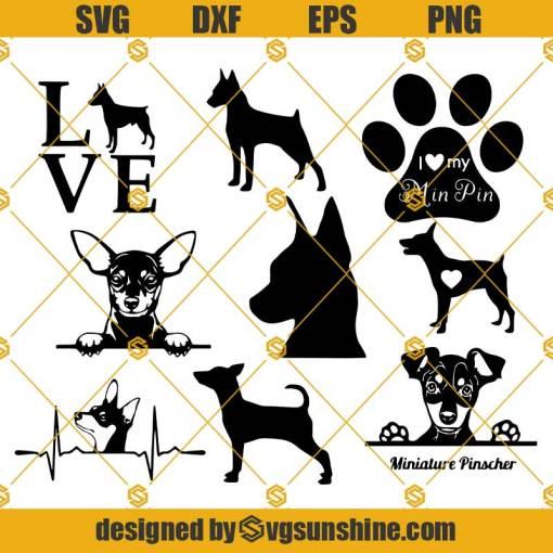 Miniature Pinscher SVG Bundle, Miniature Pinscher Dog SVG PNG DXF EPS Cut Files Vector Clipart Cricut Silhouette