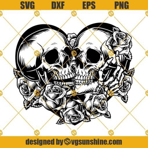 Skull Lovers SVG Dead Skeleton Love SVG Gothic Heart Skull SVG