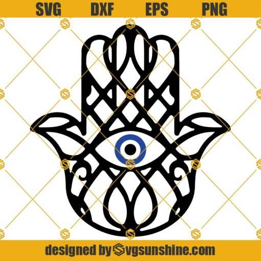 Hamsa Hand SVG, Hand Of Fatima SVG, Evil Eye SVG, Cricut Cut Files, Silhouette