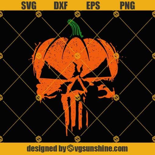 The Punisher SVG, THE PUMPKINSHER SVG, Punisher Pumpkin Skull SVG, Pumpkin Halloween SVG