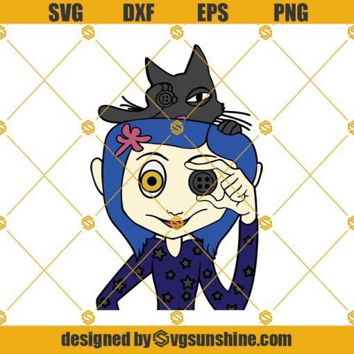 Coraline SVG, Coraline And Cat SVG, Horror Movie SVG, Halloween SVG