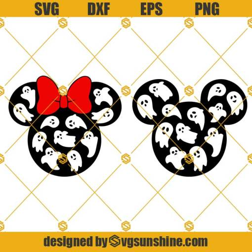 Mickey Minnie Heads Ghosts SVG, Disney Halloween 2021 SVG, Mickey and Minnie mouse ghost SVG Bundle