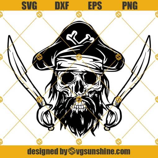 Pirate Skull SVG, Crossbone SVG, Piracy Sword Captain Hat Treasure Map Ship SVG