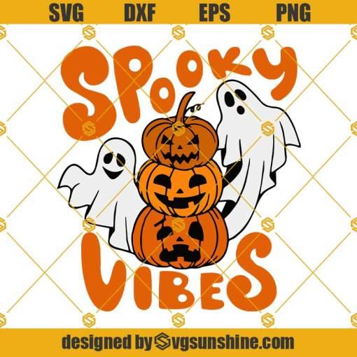 Spooky Vibes Pumpkin SVG, Jack O Lantern SVG