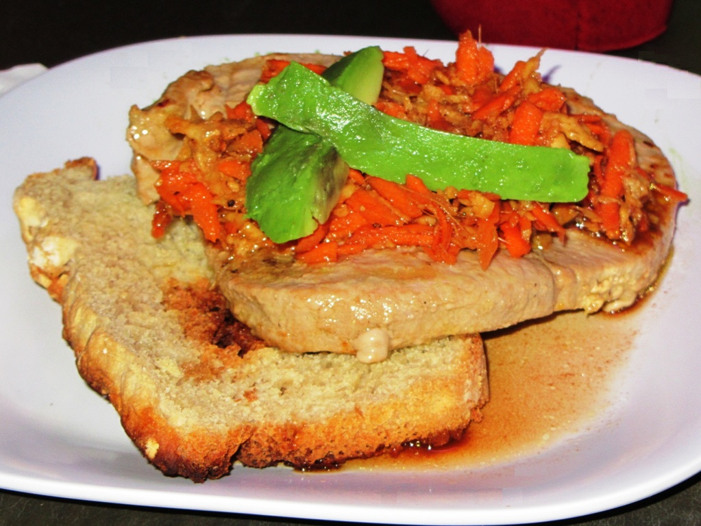 Tuna Topped With Ginger & Carrot Salad