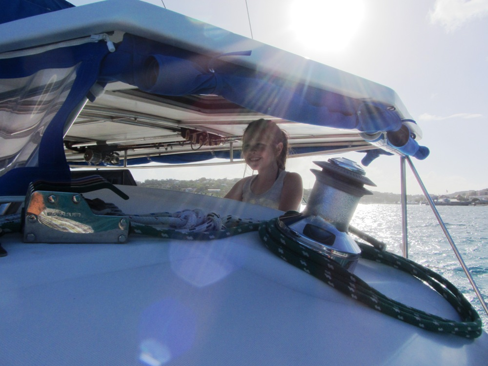Guest driving the boat