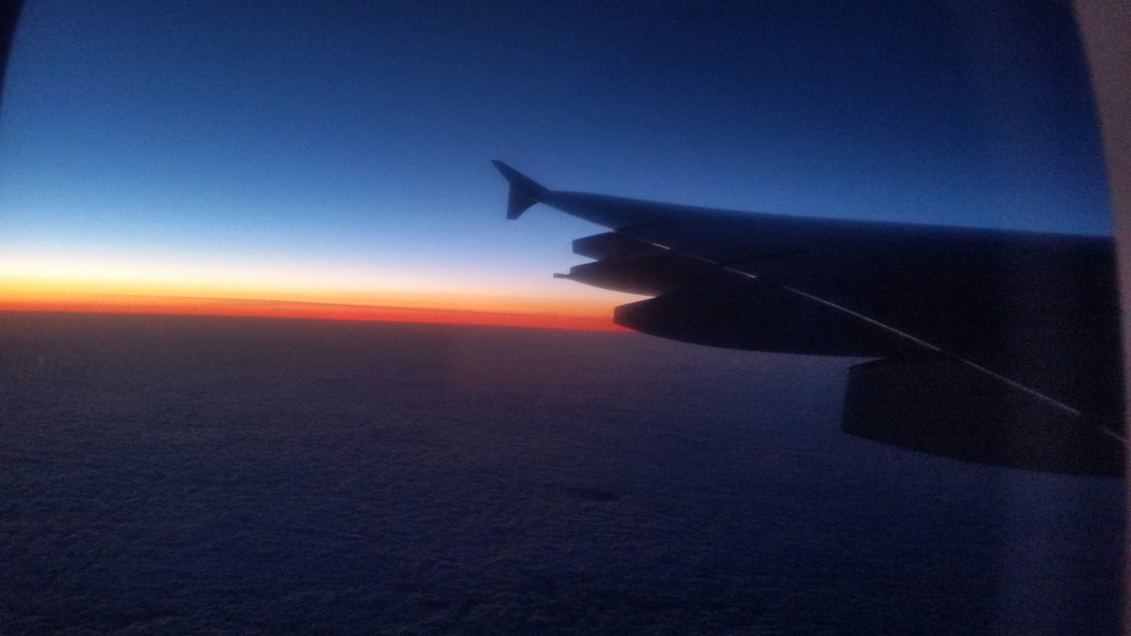 Flying at sunset over the Atlantic