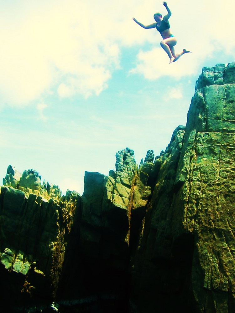 Jumping from a cliff
