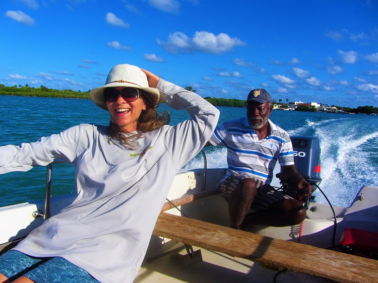 Melek & George going to frigate birds in Barbuda
