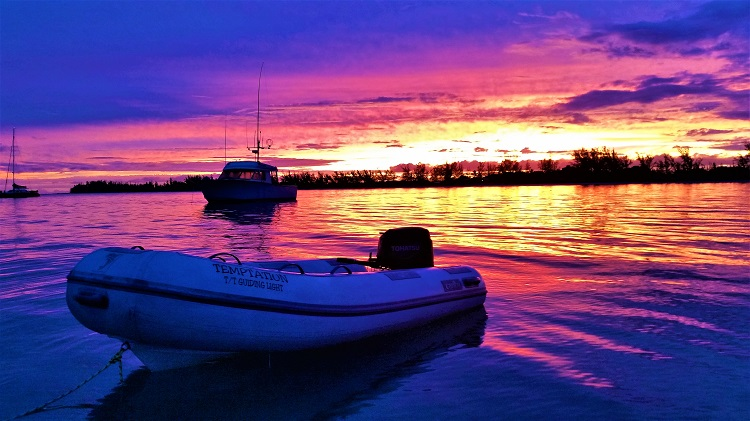 Anegada Sunset With Fishing boat And Temptation