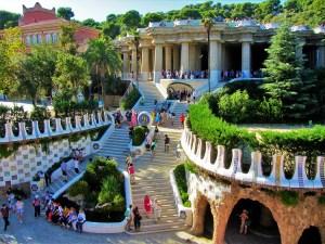 Spain - Barcelona - Gaudi - Parc Güell - Stairs