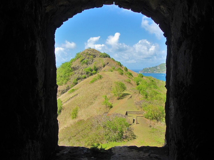 Pigeon Island through window