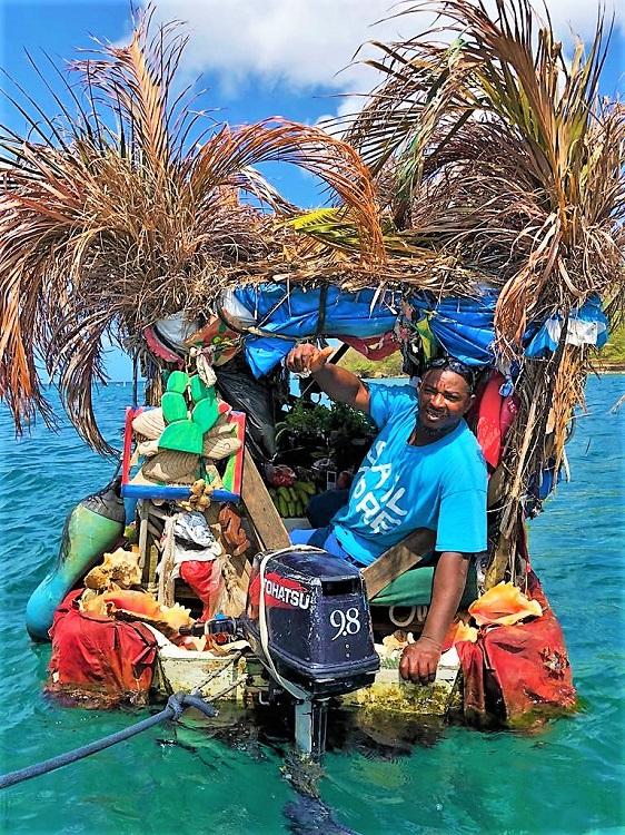 The fruit guy in Rodney Bay