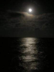 Moonrise on offshore cruise