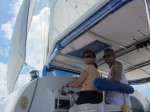 Caroline and Pete at the helm