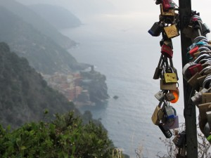 Love locks along the hiking trail of Cinque Terre.