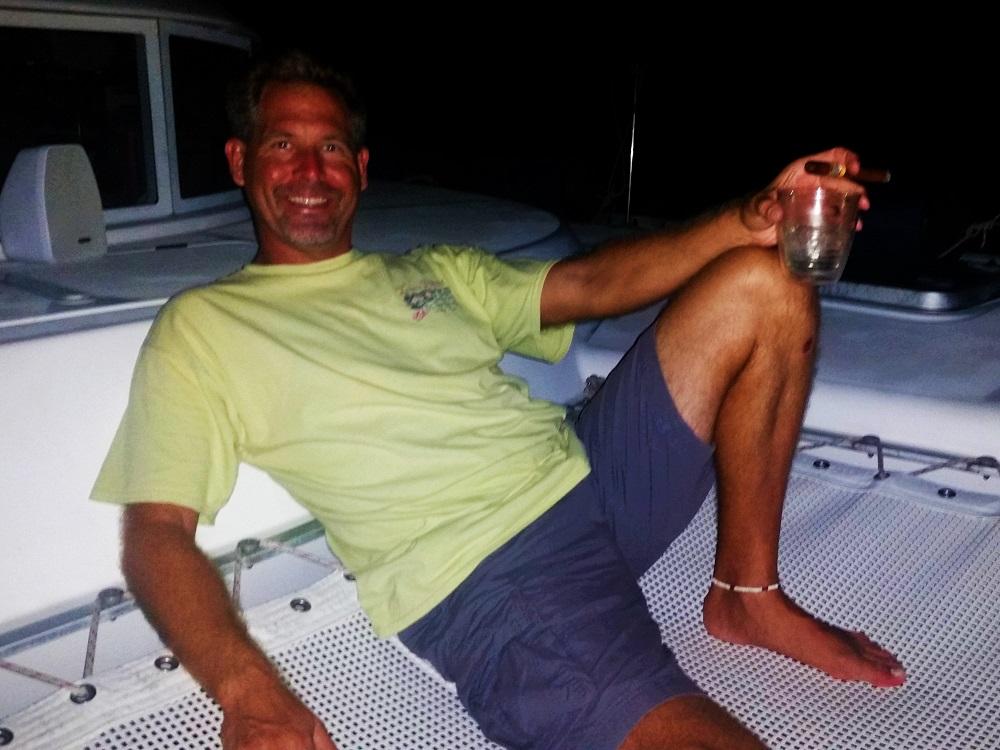 Enjoying a cigar on my boat