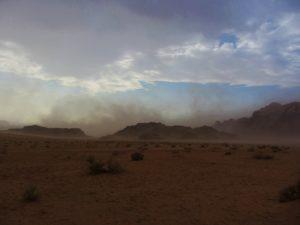 Sand storm in Wadi Rum, Jordan