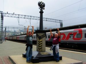 Dad and I at the end of the Trans-Siberian train