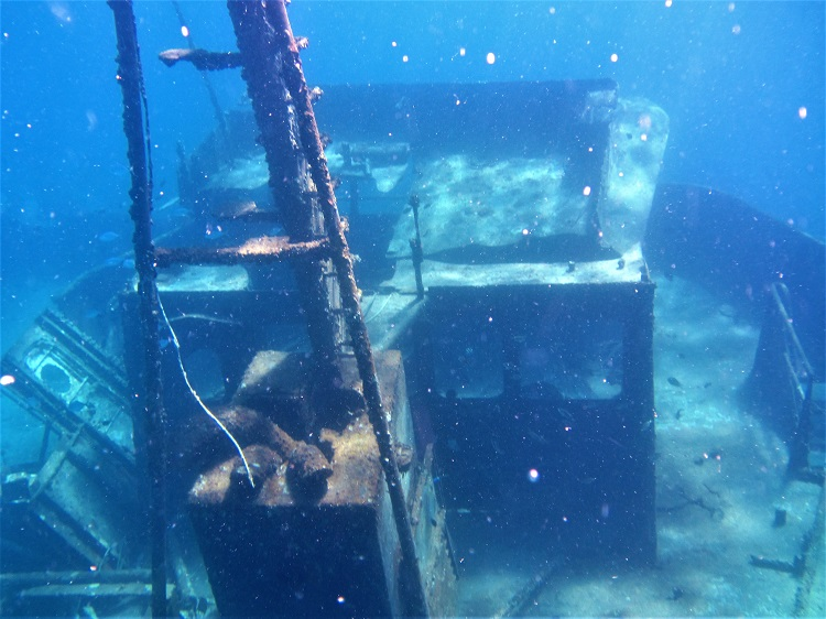 Shipwreck under water