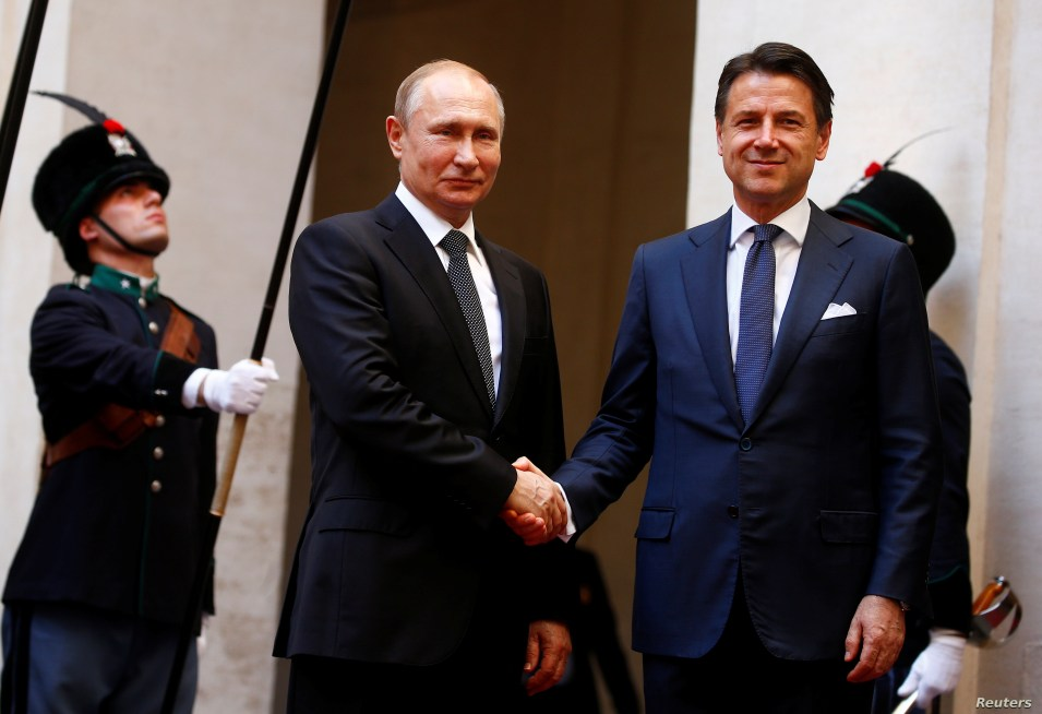 Russian President Vladimir Putin meets with Italian Prime Minister Giuseppe Conte in Rome, Italy, July 4, 2019.