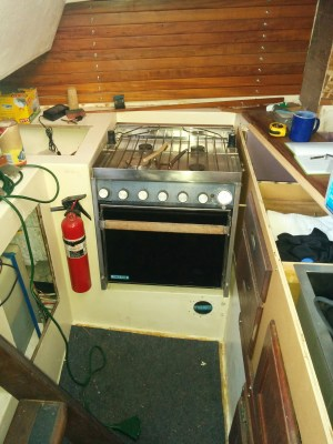 """Stove/oven, 2"""" from the fiberglass base. I'll raise it to 3"""" to get the top of the stove even with the counters."""