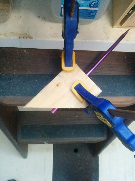 Jig in action, mark 1. Before set screw