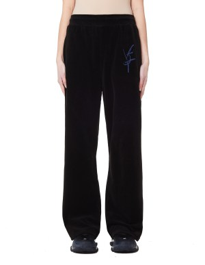 Vojettes Black & Blue Embroidered Velvet Trousers