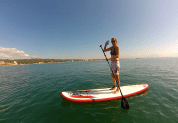 Mary's maiden voyage on the stand up paddle board