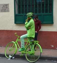 Green man on bicycle