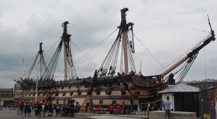 Victory, Lord Nelson's flagship, still a commissioned Navy ship