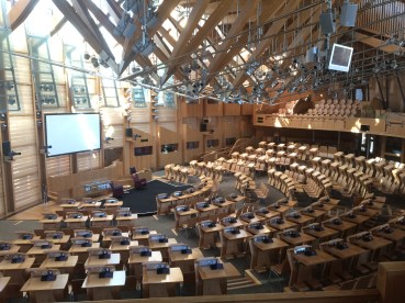 Interior of the post modern Scottish Parliament buidling