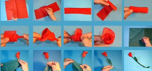роза из салфеток мастер-класс