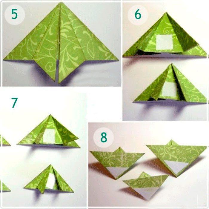 новогодняя открытка оригами елочка